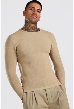 Taupe Knitted Ribbed Long Sleeve Jumper