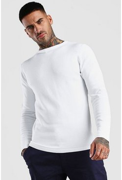White Basic Knitted Crew Neck Jumper