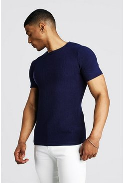 Navy Knitted Ribbed Short Sleeve T-Shirt