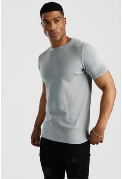 Light grey Basic Knitted Crew Neck T-Shirt