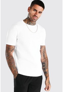 White Basic Knitted Crew Neck T-Shirt