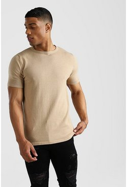 Taupe Basic Knitted Crew Neck T-Shirt