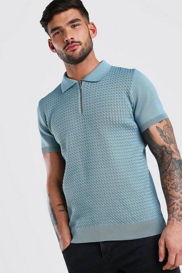 Blue Textured Short Sleeve Zip Polo