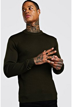 Khaki Textured Crew Neck Muscle Fit Jumper