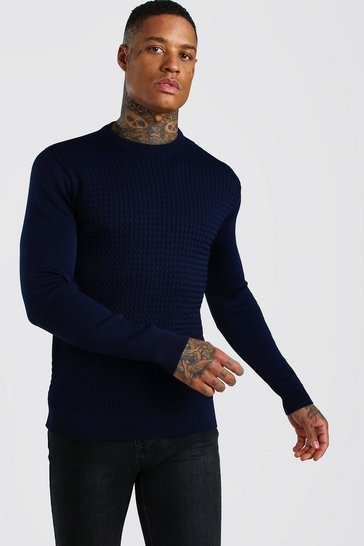 Navy Textured Crew Neck Muscle Fit Jumper