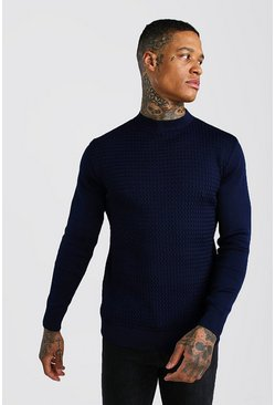 Textured Turtle Neck Knitted Jumper, Navy