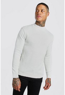 Cream Textured Turtle Neck Jumper