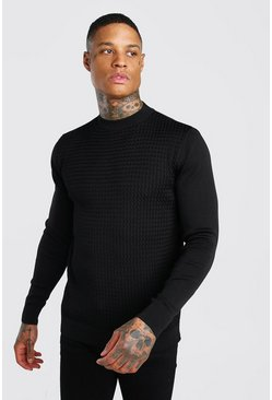Black Textured Turtle Neck Knitted Jumper