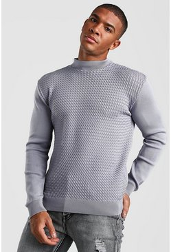Textured Turtle Neck Knitted Jumper, Silver