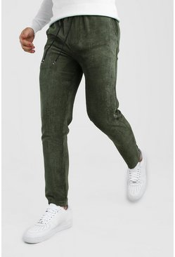Khaki Slim Fit Cord Jogger Trouser