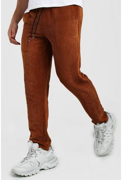 Brown Slim Fit Cord Jogger Pants
