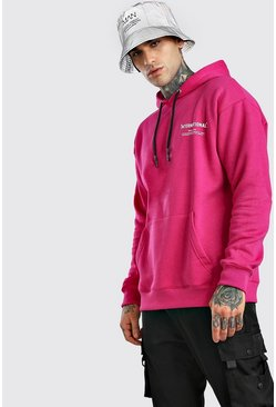 Pink Loose Fit MAN International Print Hoodie