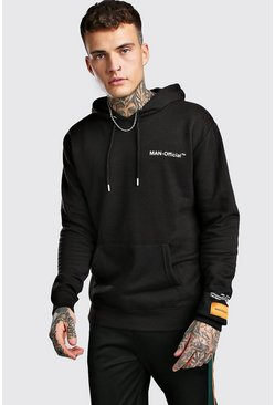 Loose Fit MAN Official Printed Hoodie, Black