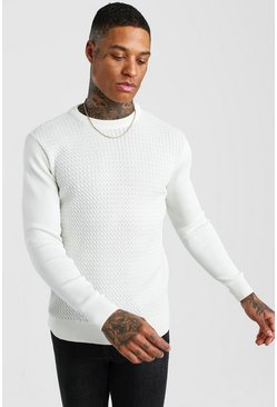 Cream Textured Crew Neck Muscle Fit Jumper
