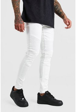 White Spray On Skinny Biker Jeans With Zips