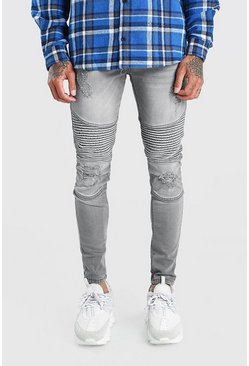 Light grey Spray On Skinny Biker Jeans With Zips