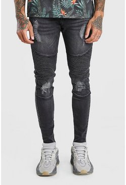 Dark grey Spray On Skinny Biker Jeans With Zips