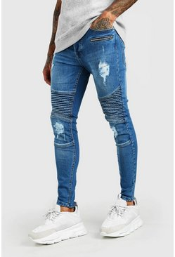 Light blue Spray On Skinny Biker Jeans With Zips
