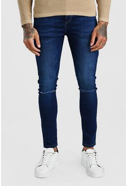 Washed indigo Super Skinny Washed Ripped Knee Denim Jean