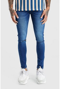 Super Skinny Ripped Knee Jeans in Washed-Optik, Mittelblau