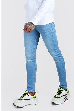 Super Skinny Ripped Knee Jeans in Washed-Optik, Hellblau