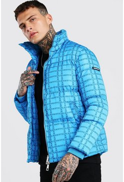 Blue MAN Official All Over Print Funnel Neck Puffer