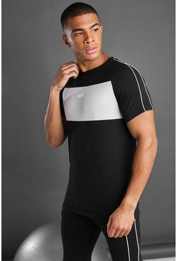 Black MAN Longline Fit Curved Hem T-Shirt With Panelling