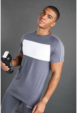 Charcoal MAN Longline Fit Curved Hem Panelled T-Shirt