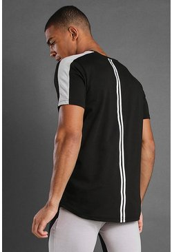 Black MAN T-Shirt With Curved Hem & Back Panels