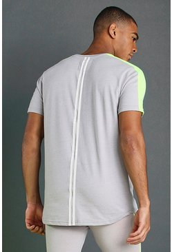 Silver MAN T-Shirt With Curved Hem & Back Panels