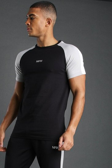 Black Muscle Fit Raglan T-Shirt With Panels