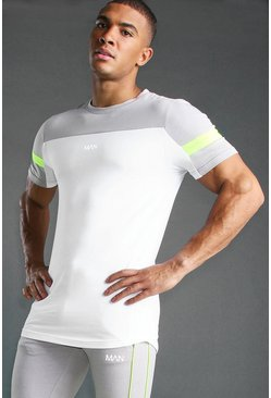 White Muscle Fit T-Shirt With Panels and Curved Hem