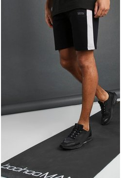 Black MAN Mid Length Shorts with Panel Detail