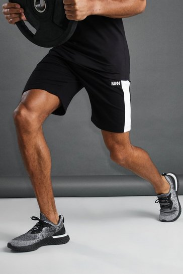 Black MAN Mid Length Shorts with Piping Detail