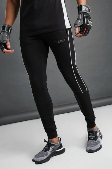 Black MAN Tapered Fit Joggers With Side Piping