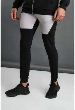 MAN Tapered-Fit Jogginghose im Colorblock-Design, Schwarz