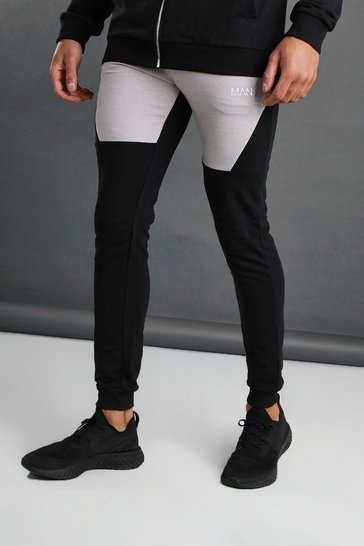 Black MAN Tapered Fit Colour Block Joggers
