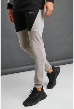 MAN Tapered-Fit Jogginghose im Colorblock-Design, Silber