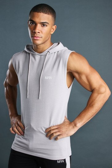 Silver MAN Drop Arm Hole Hooded Vest