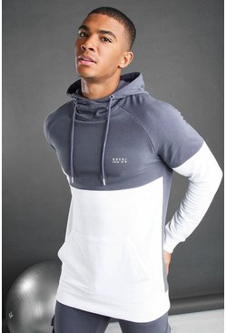 Charcoal MAN Colour Block Hoodie