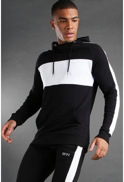 MAN Colour Block Hoodie , Black