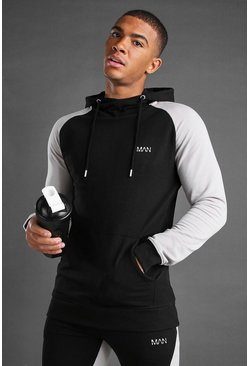 Black MAN Colour Block Hoodie With Contrast Arms