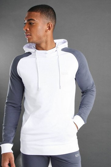 White MAN Colour Block Hoodie With Contrast Arms