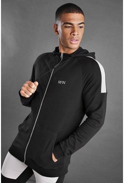 Black MAN Zip Through Hoodie With Panel Detail