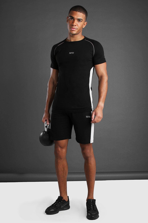 mens man t-shirt and short set with panel detail - black