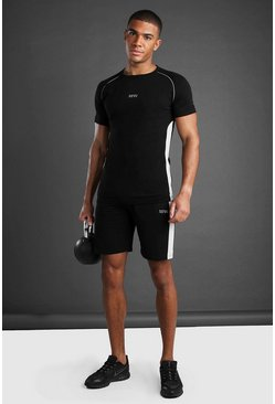 Black MAN T-Shirt and Short Set With Panel Detail