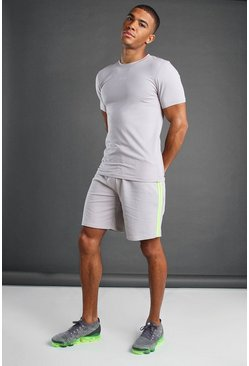 Silver MAN T-Shirt and Short Set With Piping Detail