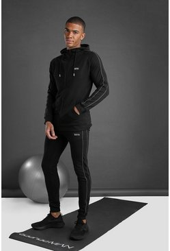 MAN Zip Through Hooded Tracksuit With Piping, Black