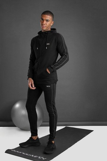 Black MAN Zip Through Hooded Tracksuit With Piping