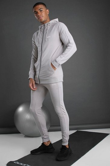 Silver MAN Zip Through Hooded Tracksuit With Piping